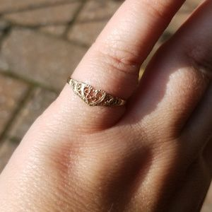 Gold plated filigree accent ring